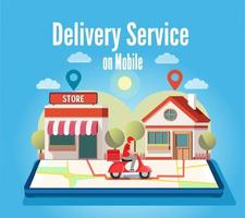 courrier express sur commande mobile d'expédition de scooter vecteur