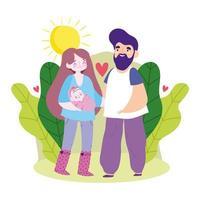 mère père bébé et feuilles