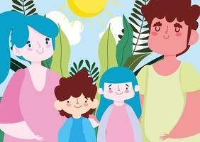 mère père fille et fils avec des feuilles