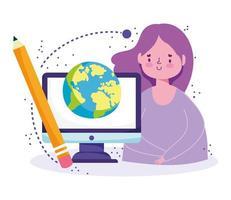 fille étudiante avec ordinateur, globe, crayon vecteur