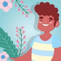 avatar homme avec des feuilles et des fleurs vecteur