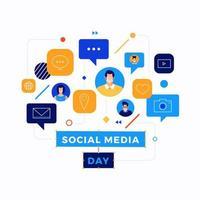 conception d'icône de jour de médias sociaux vecteur