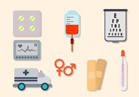Flat Hospital Elements vecteur