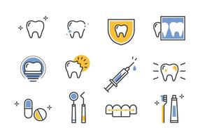 Dentista icônes de ligne de conduite vecteur