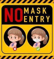 pas de masque, pas de panneau d'avertissement d'entrée avec personnage de dessin animé