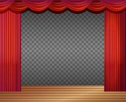 scène vide avec des rideaux rouges transparents