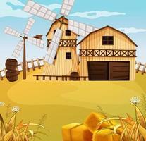 scène de ferme dans la nature avec grange et moulin à vent