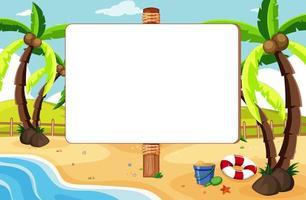 bannière vide dans un paysage de plage tropicale
