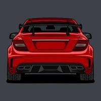 vue arrière dessin de voiture rouge vecteur