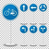 panneau de signalisation bleu sur fond transparent