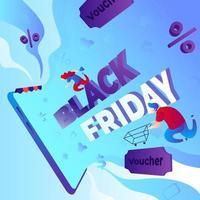 vente shopping vendredi noir vecteur