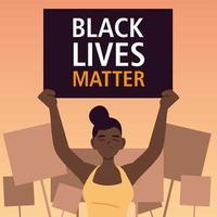 les vies noires comptent bannière avec femme