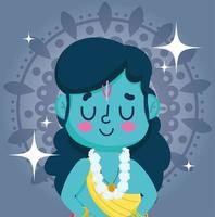 joyeux festival de dussehra. caricature traditionnelle du seigneur rama vecteur