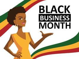 mois d'affaires noir avec dessin animé femme vecteur