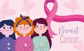 groupe de femmes de dessin animé avec ruban de soutien rose