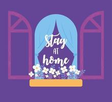 messages de coronavirus. reste à la maison. fenêtre avec des fleurs