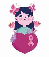 femme avec des papillons en tête, fleurs et coeur vecteur