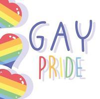 conception de jour de fierté gay heureuse avec des coeurs vecteur