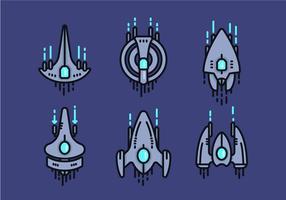 Starship linéaire Vector icône Sets