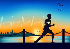 Fréquence cardiaque Courir Vecteur libre