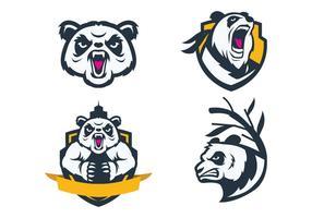 Vecteur gratuit de mascotte de pandas