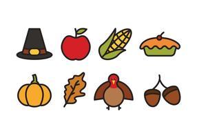 Icônes Thanksgiving vecteur