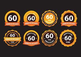 60e anniversaire Badge d'or vecteur