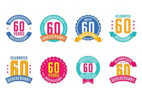 60e anniversaire Emblèmes vecteur