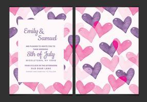 Wedding Invitation Vector avec des coeurs d'aquarelle