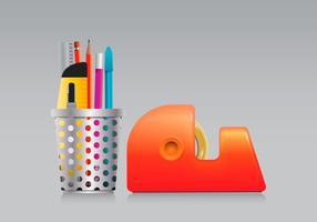 Pen Holder and Tape Set dans Réaliste style vecteur