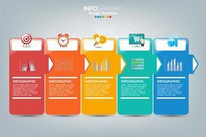 modèle infographique et icônes. concept d'entreprise avec des processus. vecteur