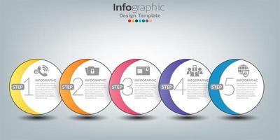 conception de modèle infographique avec 5 éléments de couleur