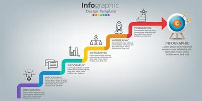 modèle infographique de succès avec marches d & # 39; escalier vecteur