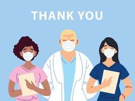 Merci conception de l'affiche du médecin et des infirmières