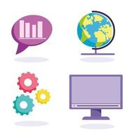 jeu d'icônes de concept d'éducation en ligne