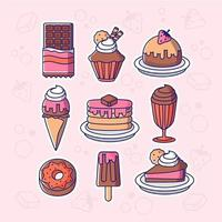 jeu d'icônes de desserts au chocolat