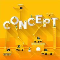 texte de concept de construction de grue de chantier vecteur