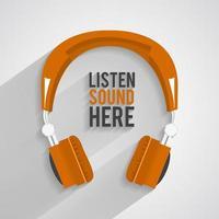 casque icône style de musique orange vecteur