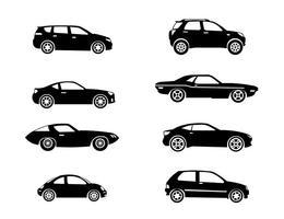 Silhouette Carros icônes vectorielles vecteur