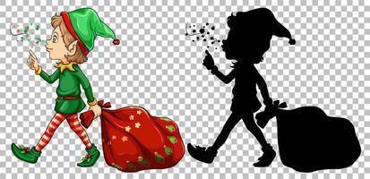 elfe et sa silhouette vecteur