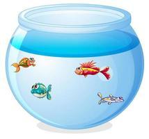 poissons mignons dans le dessin animé de réservoir isolé vecteur