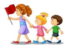 Groupe de personnage de dessin animé de jeunes enfants sur fond blanc vecteur
