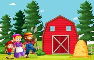 famille heureuse en scène de ferme en style cartoon