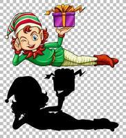 mignon elfe et boîte cadeau vecteur