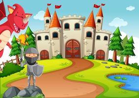 chevalier avec dragon dans une scène de terre de conte de fées vecteur