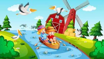 enfants rament le bateau dans la scène de la ferme du ruisseau