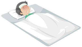 homme malade au lit