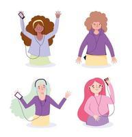 personnages féminins avec des appareils écoutant de la musique vecteur