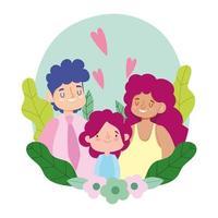 mère père et fille avec des feuilles et des fleurs