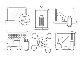 Icônes de réparation d'ordinateurs gratuit vecteur